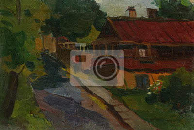 Canvas print Beautiful Original Oil Painting Landscape On Canvas with trees house and road