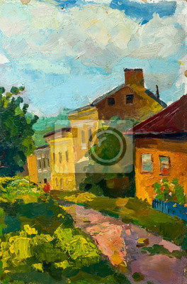 Beautiful Original Oil Painting Landscape On Canvas with trees house and road