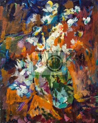 Beautiful Original Oil Painting lowers in a vase in bright orange colors of red and blue  On Canvas