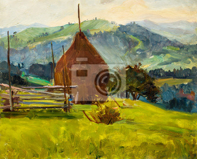 Canvas print Beautiful Original Oil Painting of autumn landscape, haystack behind a fence on a background of green grass mountain range On Canvas