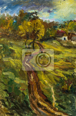 Canvas print Beautiful Original Oil Painting of autumn landscape on a sunny day, trees, house, footpath into the woods and a man walking along a path On Canvas