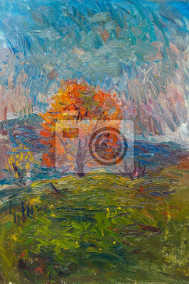 Beautiful Original Oil Painting of autumn landscape orange tree in a cloudy morning on the background of the mountains around the grass  On Canvas