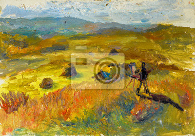 Beautiful Original Oil Painting of autumn landscape the artist paints a picture at sunset  On Canvas