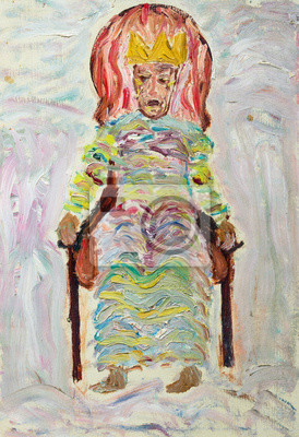 Beautiful Original Oil Painting of extraordinary king on his throne in bright colors   On Canvas