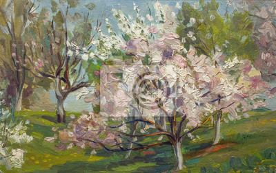 Canvas print Beautiful Original Oil Painting of flowering tree in the summer garden  Landscape On Canvas