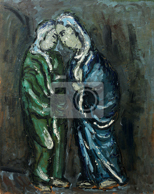 Canvas print Beautiful Original Oil Painting of portrait of a two woman On Ca