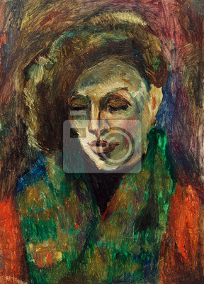 Canvas print Beautiful Original Oil Painting of portrait of a woman wearing a scarf in orange and green colors  On Canvas