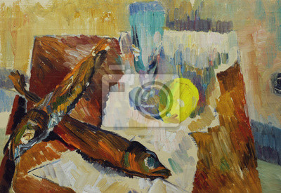 Canvas print Beautiful Original Oil Painting of Still Life fish glass apple, on paper, on the table On Canvas in the style of impressionism in pastel colors