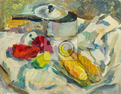 Canvas print Beautiful Original Oil Painting of  still life  .pan peppers corn on tissue On Canvas in the style of Impressionism