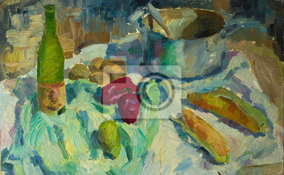 Canvas print Beautiful Original Oil Painting of  still life pepper, corn casserole, cloth  On Canvas