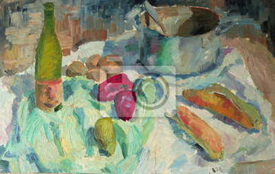 Beautiful Original Oil Painting of  still life pepper, corn casserole, cloth  On Canvas in the style of impressionism in pastel colors