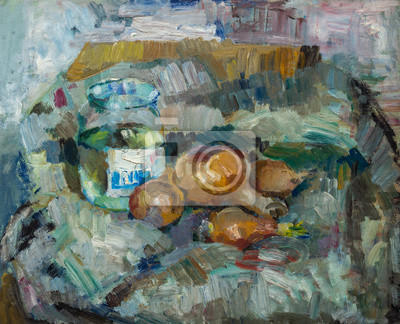 Canvas print Beautiful Original Oil Painting of  still life  ..pot bulb on fabrics On Canvas in yellow and blue colors in the style of Impressionism