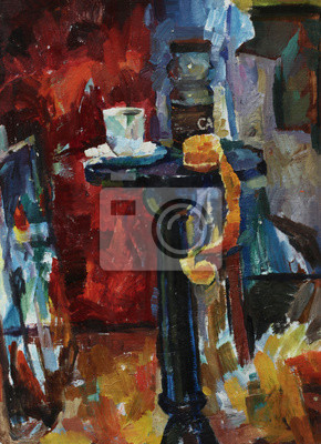 Canvas print Beautiful Original Oil Painting of  still life pot mug of coffee, apple peeled, the skin is on the table  On Canvas in the style of impressionism in bright colors