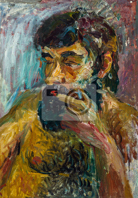 Canvas print Beautiful Original Oil Painting of topless bearded man On Canvas