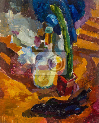 Beautiful Original Oil Painting Still Life bottle and cactus green orange blue colors  On Canvas