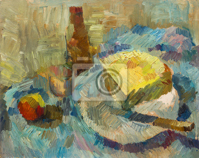 Beautiful Original Oil Painting Still Life bottle opener cheese apple glass in pastel colors  On Canvas
