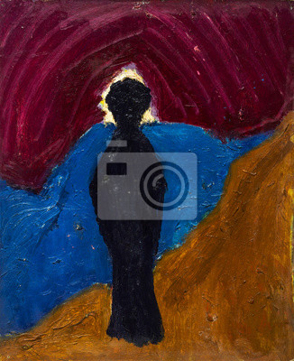 Beautiful Original Oil Painting with black silhouette on a background of blue orange purple shadows