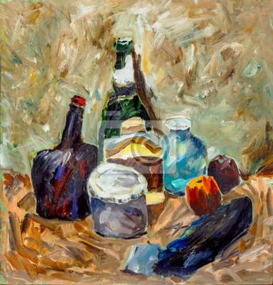 Beautiful Original Oil Painting with bottles, jars, eggplant