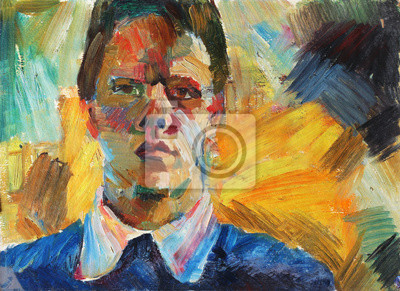 Canvas print Beautiful Original Oil Painting with men  portrait in Impressionism style