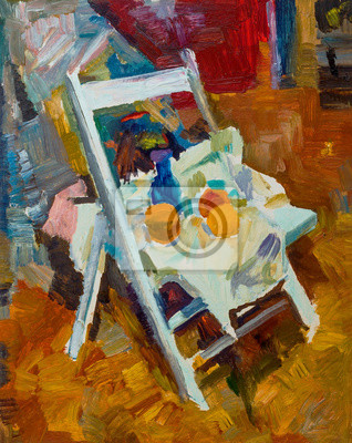 Beautiful Original Oil Painting with still life on the chair