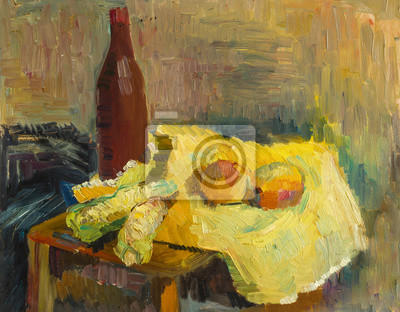 Canvas print Beautiful Original Oil Painting with still life with bottle of wine on the table corl and apples in woven