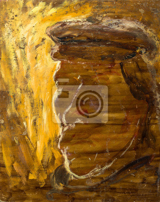 Beautiful Original Oil Painting with the ghost of Captain in shades of yellow and orange shades