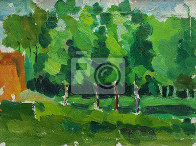 Canvas print Beautiful Original old  Oil Painting Landscape On Canvas with trees and grass