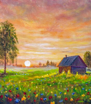 Beautiful Russian countryside landscape oil painting old wooden house in flower field at sunset. Russian birches in background. Fairytale kind illustration to book of fairy tales.