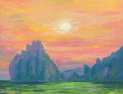 Beautiful seascape. Sunset over the sea. The sun is in a haze. Coastal rocks. Bright colors. Oil painting.