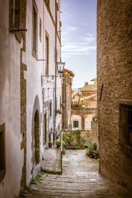 Canvas print Beautiful street of Cortona, Tuscany
