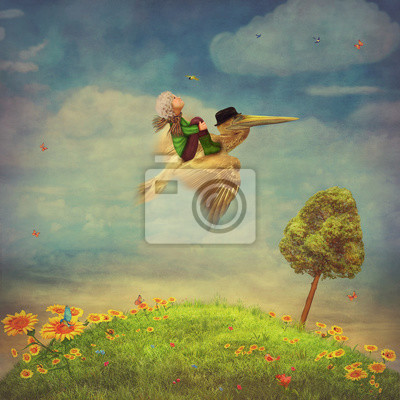 Canvas print Beautiful summer landscape with  butterflies, green field,  sky and sunflowers.The little boy and brown pelican  in the sky