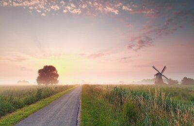 Canvas print beautiful summer sunrise on Dutch farmland