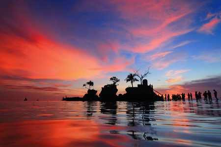 beautiful sunset and sea with tourist, shot in Boracay, Philippines, Willy