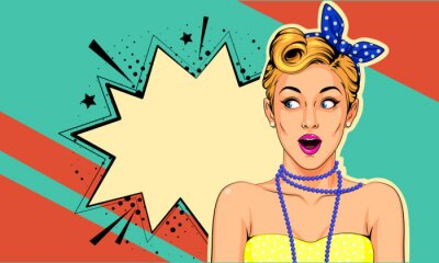 Canvas print Beautiful surprised pin up girl vector illustration in pop art style