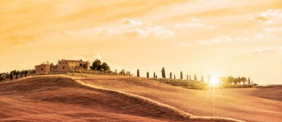 Canvas print Beautiful typical panorama landscape of Tuscany at sunset, Italy