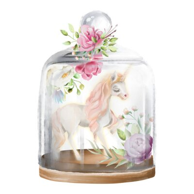 Canvas print Beautiful, unicorn, magic horse and flowers in a glass mason jar. Fantasy watercolor illustration isolated on white