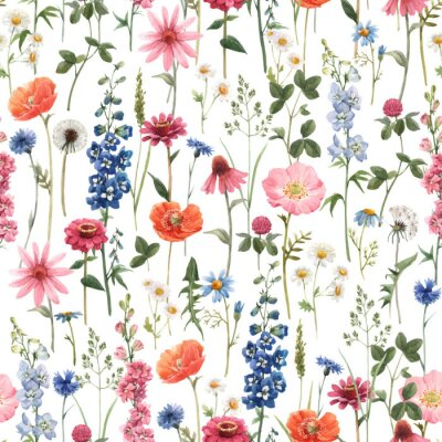 Canvas print Beautiful vector floral summer seamless pattern with watercolor hand drawn field wild flowers. Stock illustration.