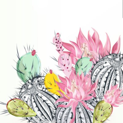 Canvas print Beautiful vector illustration with cactus plants and flowers