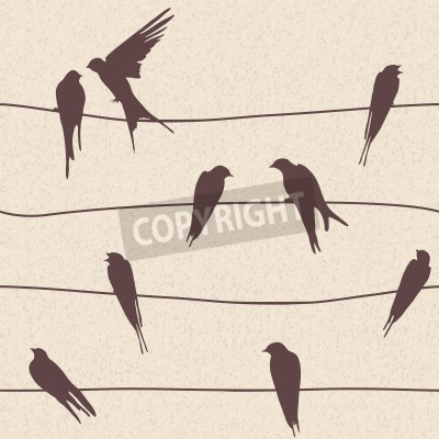 Beautiful vector seamless pattern with birds sitting on wires
