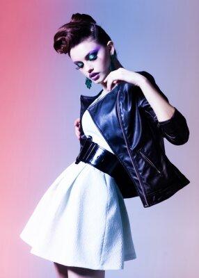 Canvas print beautiful woman dressed elegant punk posing dramatic