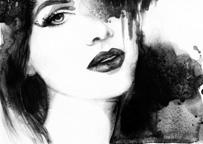Canvas print Beautiful woman face. Abstract fashion watercolor illustration