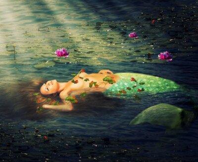 Canvas print Beautiful woman mermaid