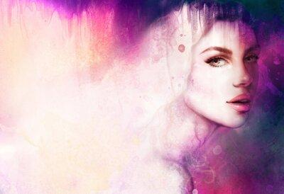 Canvas print Beautiful woman portrait. Hand painted fashion illustration