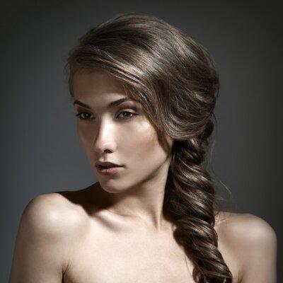 Canvas print Beautiful Woman Portrait. Long Brown Hair