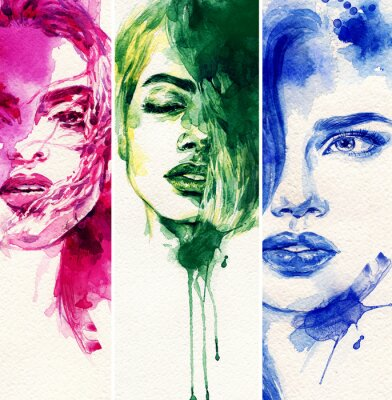 Canvas print Beautiful woman. watercolor illustration