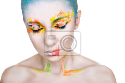 Canvas print Beautiful woman with colorful makeup on white background
