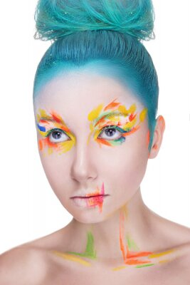Beautiful woman with colorful makeup on white background