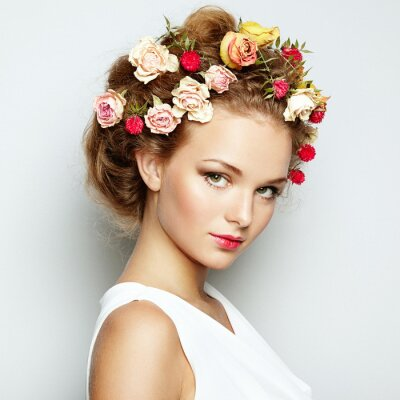 Canvas print Beautiful woman with flowers. Perfect face skin. Beauty Portrait
