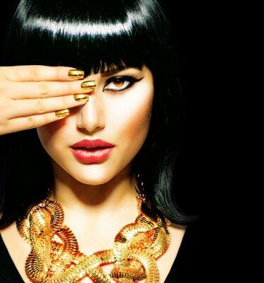 Canvas print Beauty Brunette Egyptian Woman.Golden Accessories