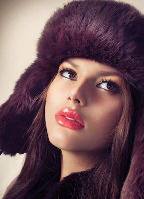 Canvas print Beauty Fashion Model Girl in a Fur Hat